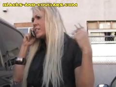 Blonde Cougar Gets This Black Dude To Come In And She Blows Him