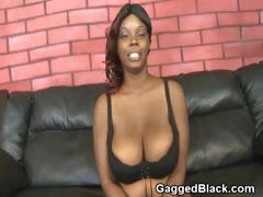 Black Ghetto Slut On Her Knees Getting Throat Fucked