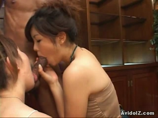 Asian Hotties Arika And Rika Giving This Lucky Guy A Great Blowjob