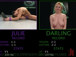 Julie Gets Strapon Fucked By Darling After She Looses The Fight