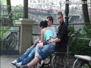 Gangbang with a cute teen in the middle o ...