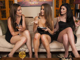 Three sexy lesbians spend the day eating each other out