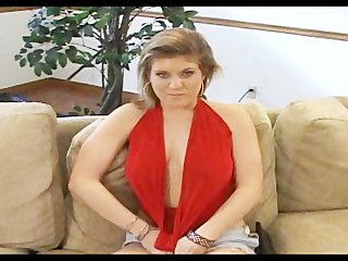 Lady in red gives head with cumshot