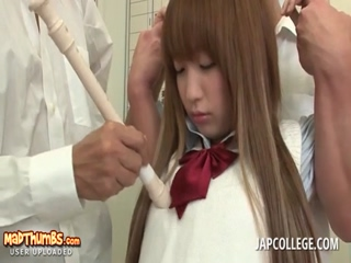 Jap college cutie gets fucked after class by horny coeds