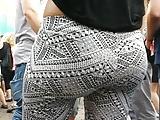 wow white bubble butt!! in designer leggings jiggling!!