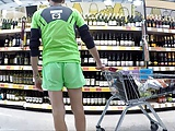 180 FREEBALLING NYLON SHORTS DICK SLIPS AT SUPERMARKET