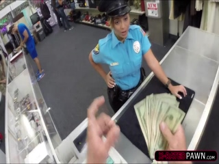 Hot brunette police officer sells a firearm and gets fucked by Shawn