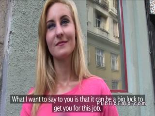 European blonde banged in public pov