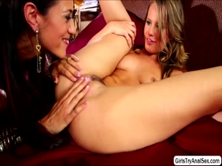 Lesbians tight butt holes get fucked with a sex toy
