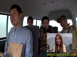 Busty Kyoko Maki cockriding in group