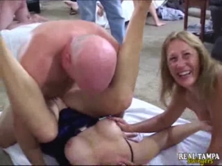 Milfs Have An Orgy Fest With A Room Full Of Cocks To Please