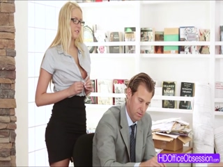 Hot blonde secretary Vanessa Cage gets fucked hard at the office
