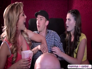 Teen Cherie in a movie date dicking threesome with Milf Molly and hunk bf D