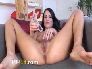Gaping and gyno dildoing her sweet hole