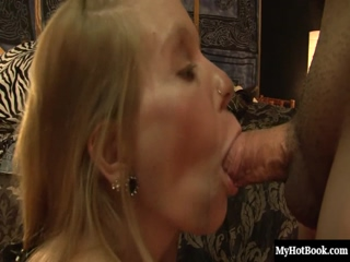 Slender tattooed blonde MILF, Tabitha James, gets on her knees and give her