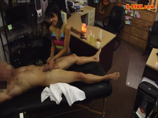 Girl pawns her massage table and fucked