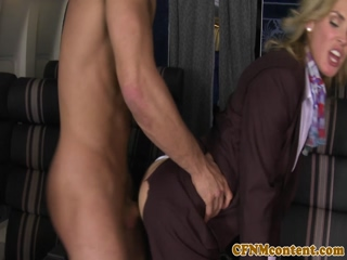 Stewardess fucked doggystyle in uniform