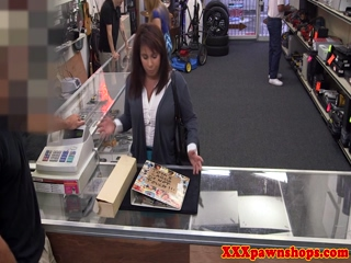 Bigass pawnshop milf selling more than cards