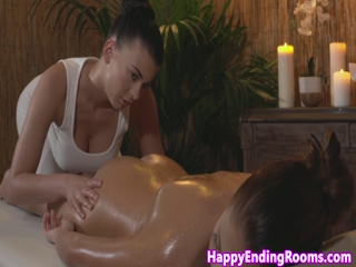 Busty lez masseuse seduces gorgeous client