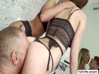 Two horny slutty ladies gets fucked by a huge dick