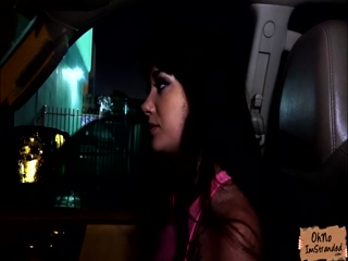 Petite teen Gia Paige fucks in the car on a rainy day