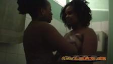 Kinky lesbian friends like to wash cunt