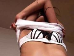 Cute Asian Teen Rubbing Hard On Her Wet Bald Pussy