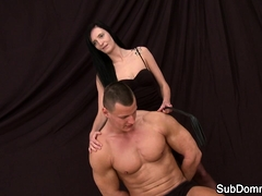 Orally Pleasured Domina Tugging Slaves Dick
