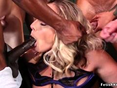 Huge Tits Blonde Gets Gangbang In Suspension
