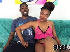 Ebony Lacy Layy Sucks Cock, Gets Fucked