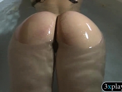 Pretty Brunette Wet Hairy Twat Hammered In Shower Room