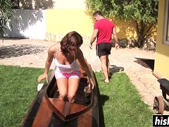 Bellina Rides A Fat Dick Outdoors