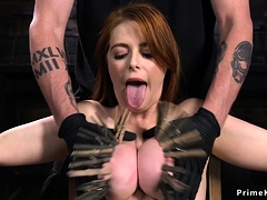 Hogtied Busty Redhead Anal Fucked