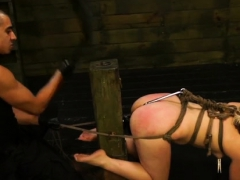Fastened Up Girl Gets Her Slit Destroyed In Bdsm Scenery
