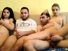 Group Sex With Blonde Brunette On Sofa