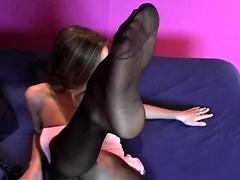 Ginger Nylon Fetish Teen Plays In Her Pantyhose