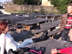 German Redhead Teen In Fmm Threesome Outdoor At Tinder Date