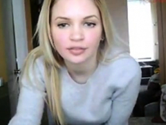 Sexy Blonde Teen Stripping On Cam