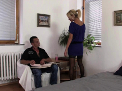 Hot-looking Blonde Wife Cuckolds Husband