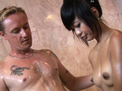 Stunning Asian Massage Babe Lathers Up A Dick