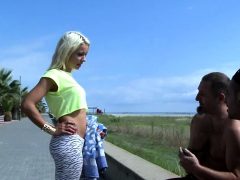Blonde Cutie Gets Two Peckers At The Beach