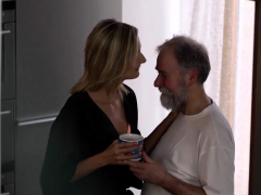 Old4k. Grey-haired Dad And His Teen Blonde Wife Make Love