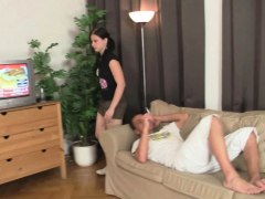Pigtailed Girl Gives Deep Head And Rides Him Hard