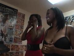 Two Black Chicks Share One White Schlong
