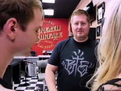 Nervous Stepson Gets A Hot Sex While On A Tattoo Session