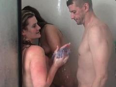 Wet Amateur Babes Sharing Stiff Cock In Shower Threesome