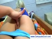 Lesbian college girls playing with ass