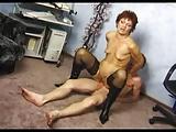 Tiny Tits Big Pussy Granny in Stockings Fucks