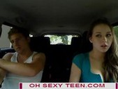 Teen with car cam blowing
