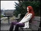 hot Redhead sucks and fucks BBC in public